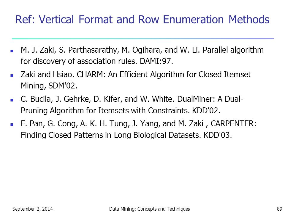 Ref: Vertical Format and Row Enumeration Methods