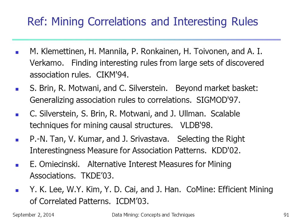 Ref: Mining Correlations and Interesting Rules