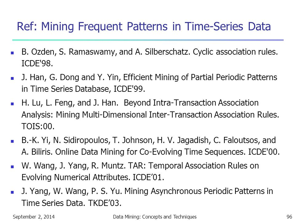 Ref: Mining Frequent Patterns in Time-Series Data