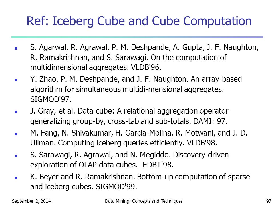 Ref: Iceberg Cube and Cube Computation