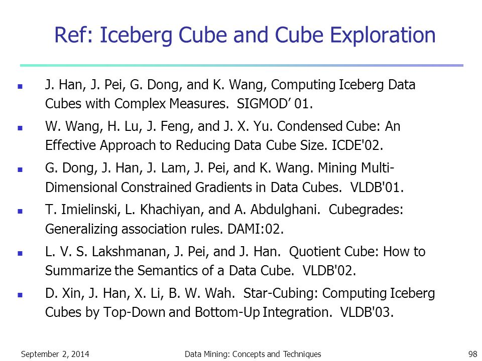 Ref: Iceberg Cube and Cube Exploration