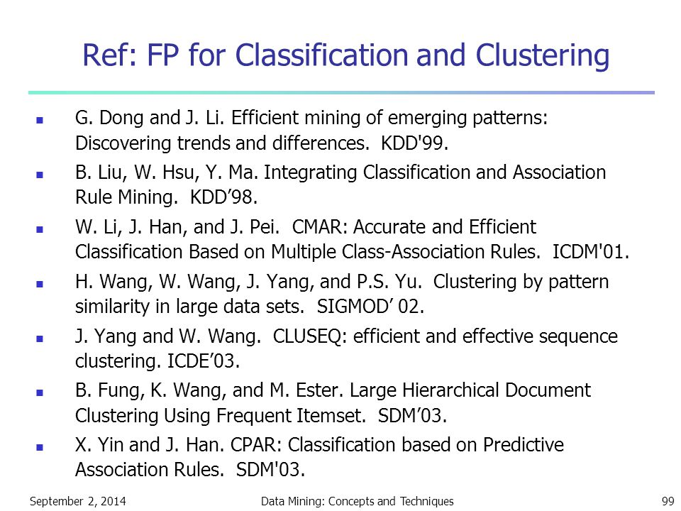 Ref: FP for Classification and Clustering