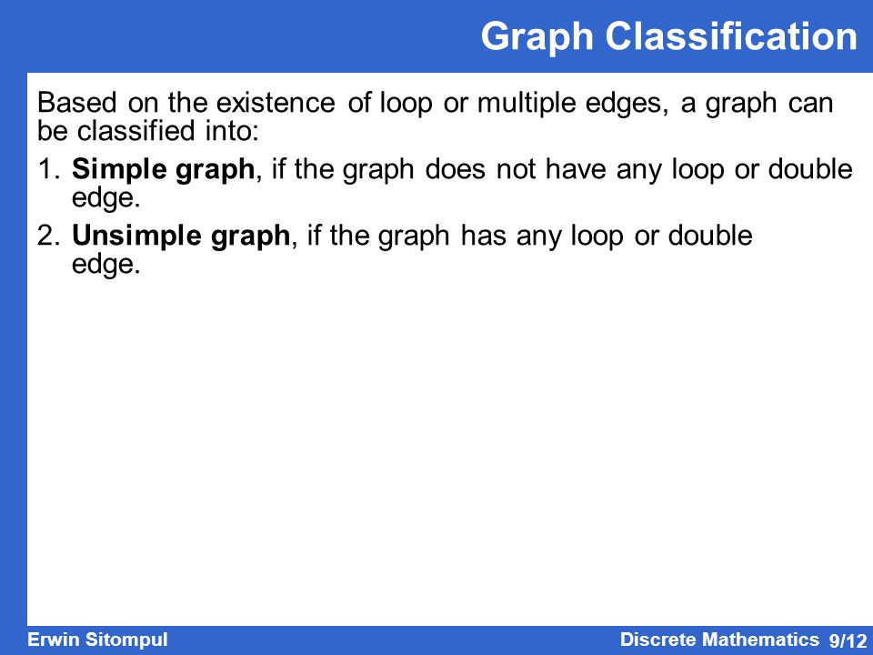 Graph Classification Based on the existence of loop or multiple edges, a graph can be classified into: