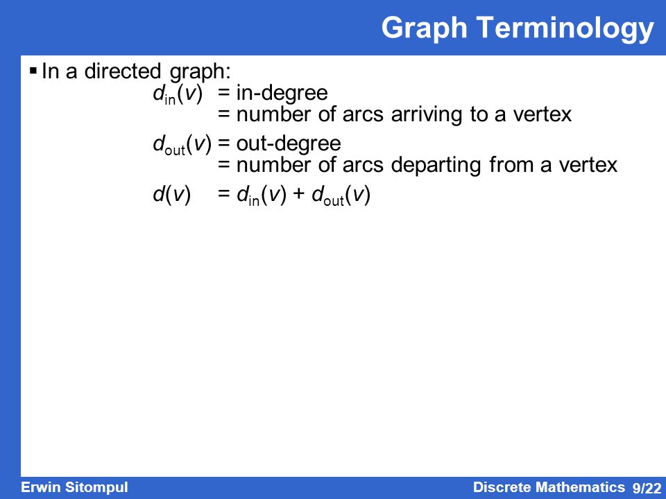 Graph Terminology In a directed graph: din(v) = in-degree