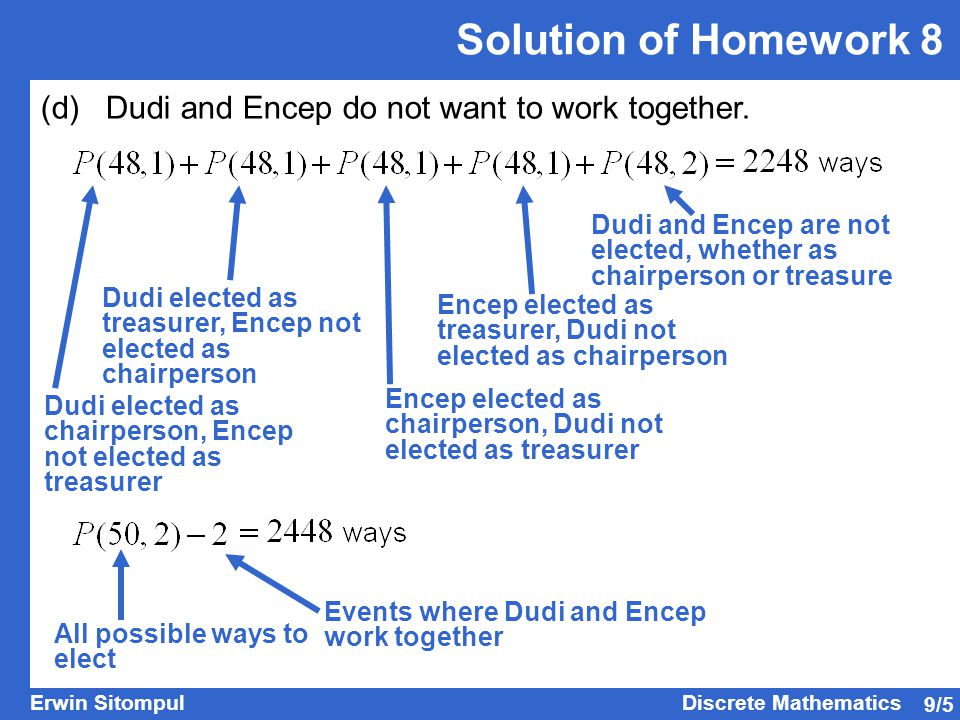 Solution of Homework 8 (d) Dudi and Encep do not want to work together. Dudi and Encep are not elected, whether as chairperson or treasure.