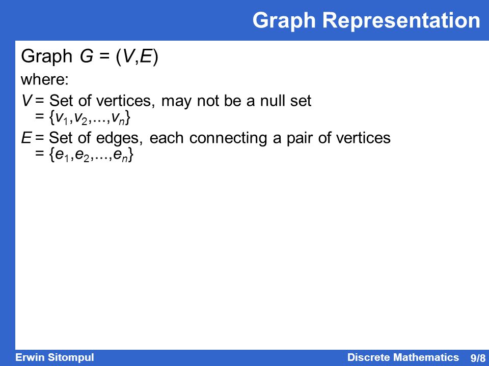 Graph Representation Graph G = (V,E) where: