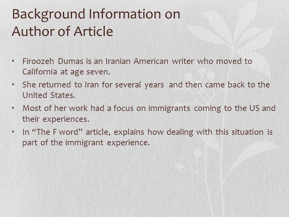Background Information on Author of Article