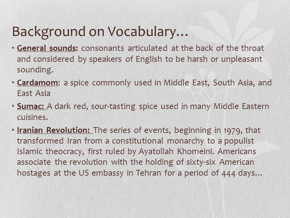 Background on Vocabulary…