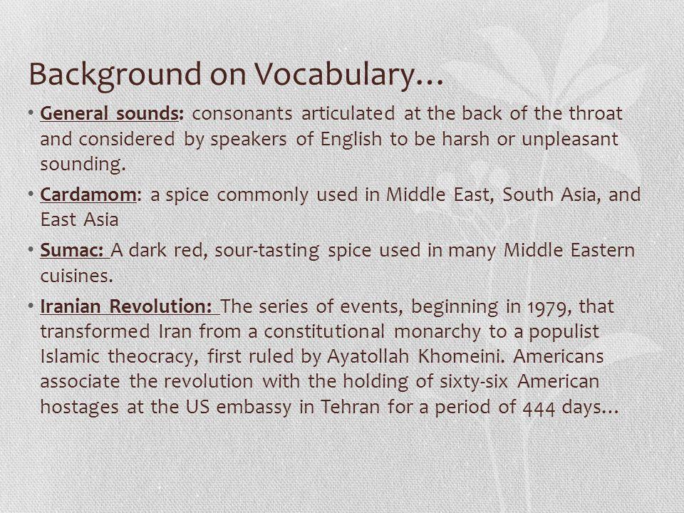 Background on Vocabulary…