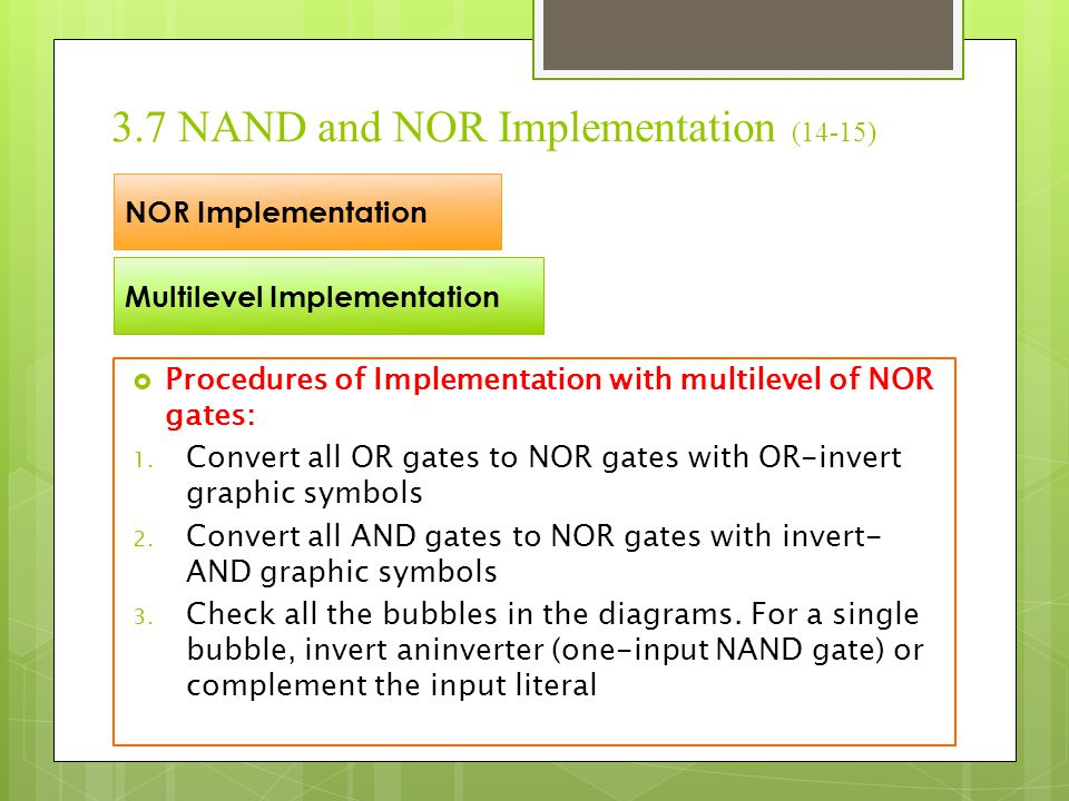 3.7 NAND and NOR Implementation (14-15)