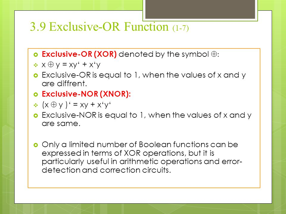 3.9 Exclusive-OR Function (1-7)