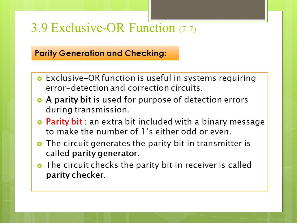 3.9 Exclusive-OR Function (7-7)