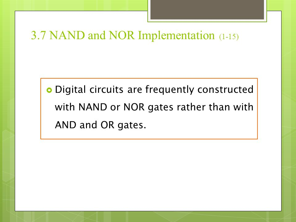 3.7 NAND and NOR Implementation (1-15)