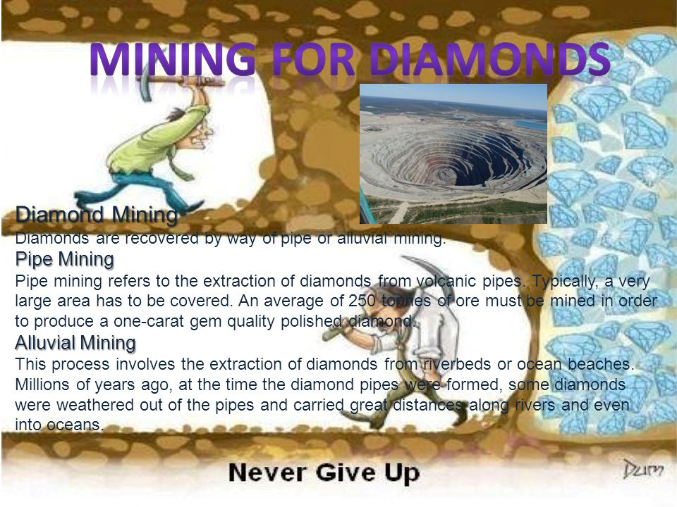 Mining for Diamonds Diamond Mining Diamonds are recovered by way of pipe or alluvial mining.