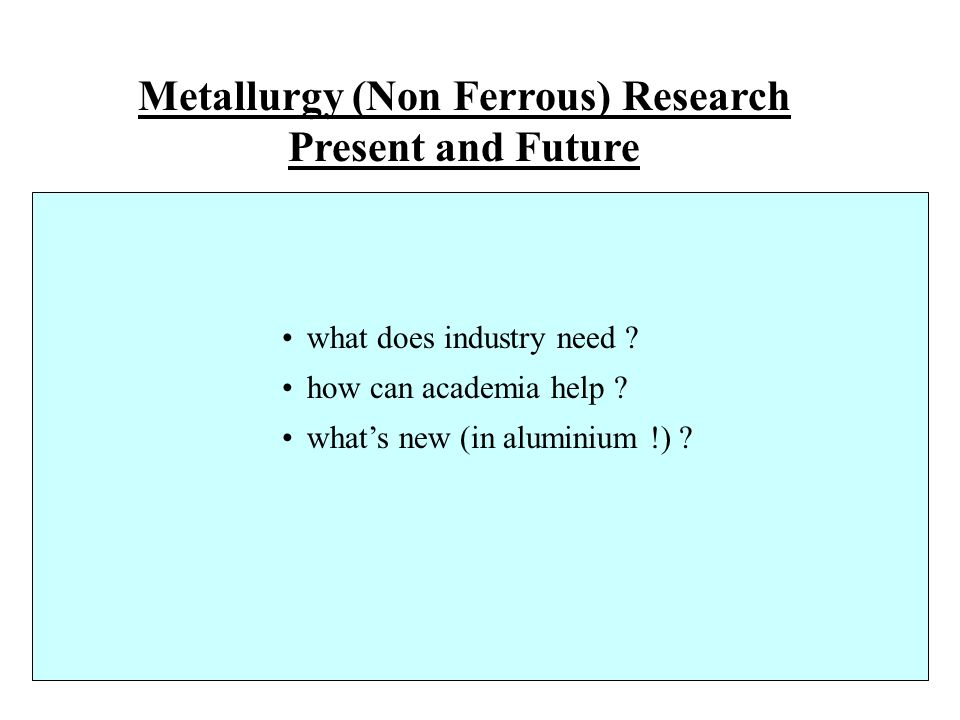 Metallurgy (Non Ferrous) Research