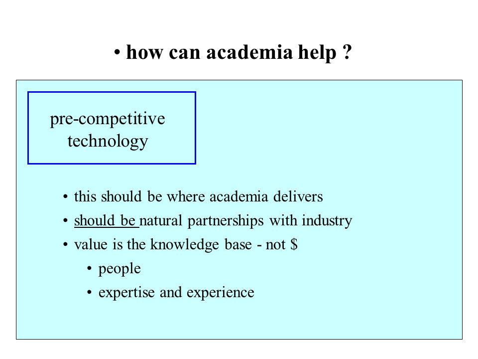 how can academia help pre-competitive technology