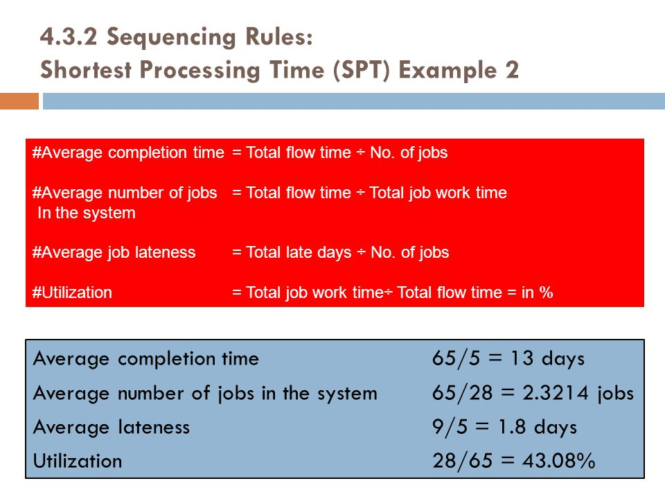 4.3.2 Sequencing Rules: Shortest Processing Time (SPT) Example 2