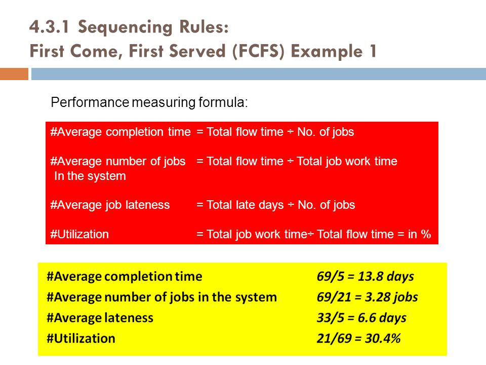 4.3.1 Sequencing Rules: First Come, First Served (FCFS) Example 1