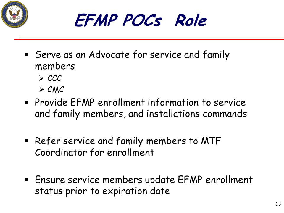 EFMP POCs Role Serve as an Advocate for service and family members
