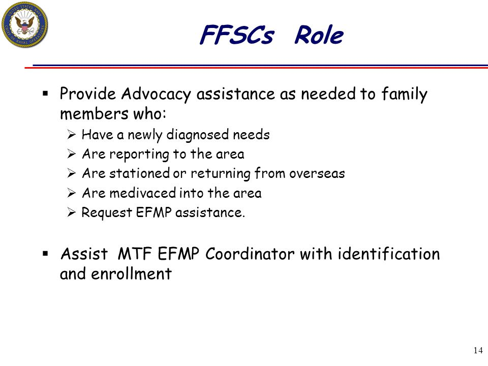 FFSCs Role Provide Advocacy assistance as needed to family members who: Have a newly diagnosed needs.