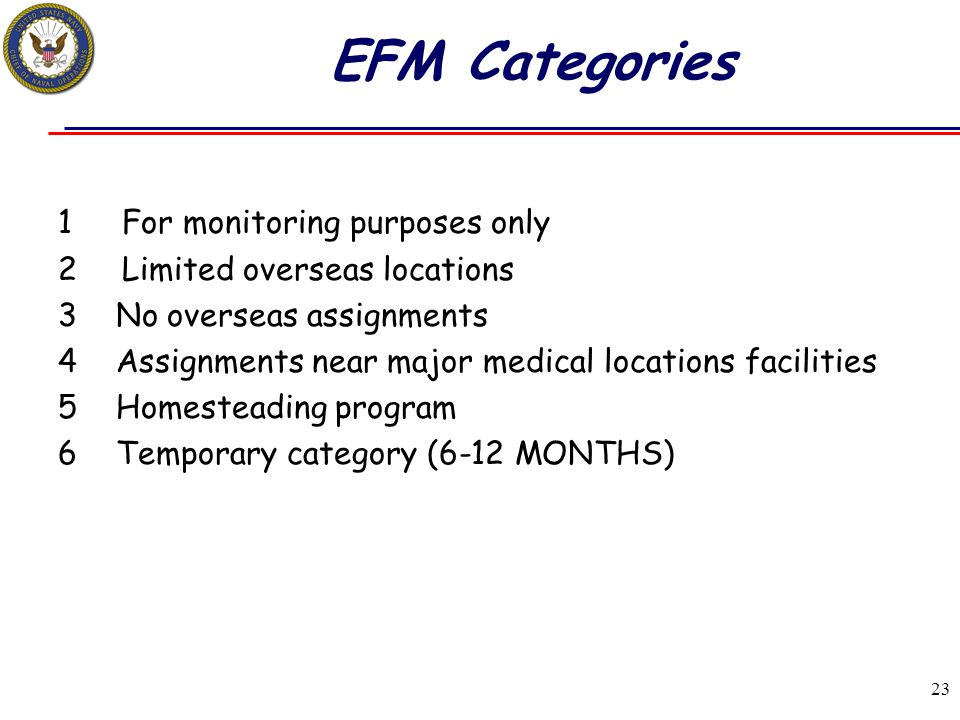 EFM Categories For monitoring purposes only Limited overseas locations