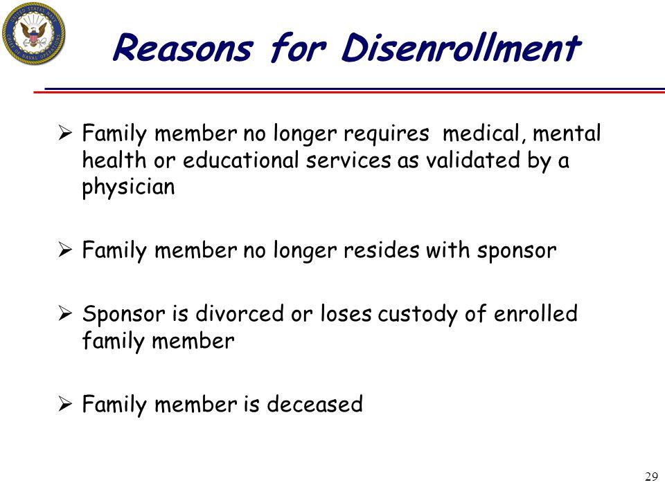 Reasons for Disenrollment