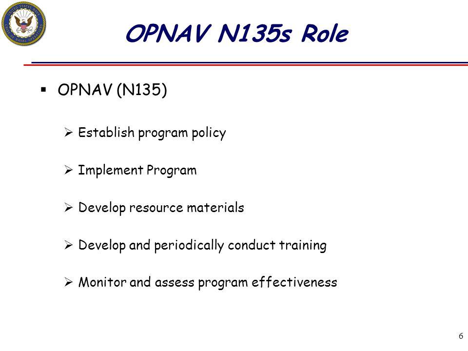 OPNAV N135s Role OPNAV (N135) Establish program policy