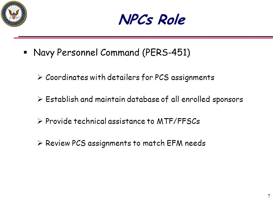 NPCs Role Navy Personnel Command (PERS-451)
