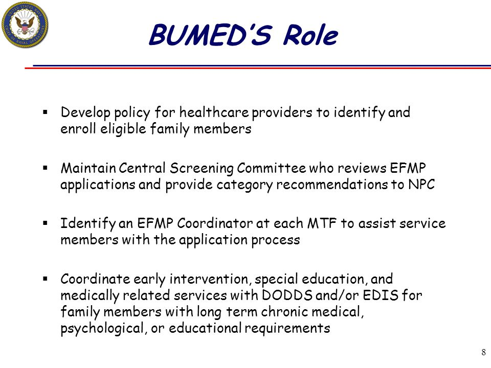 BUMED'S Role Develop policy for healthcare providers to identify and enroll eligible family members.