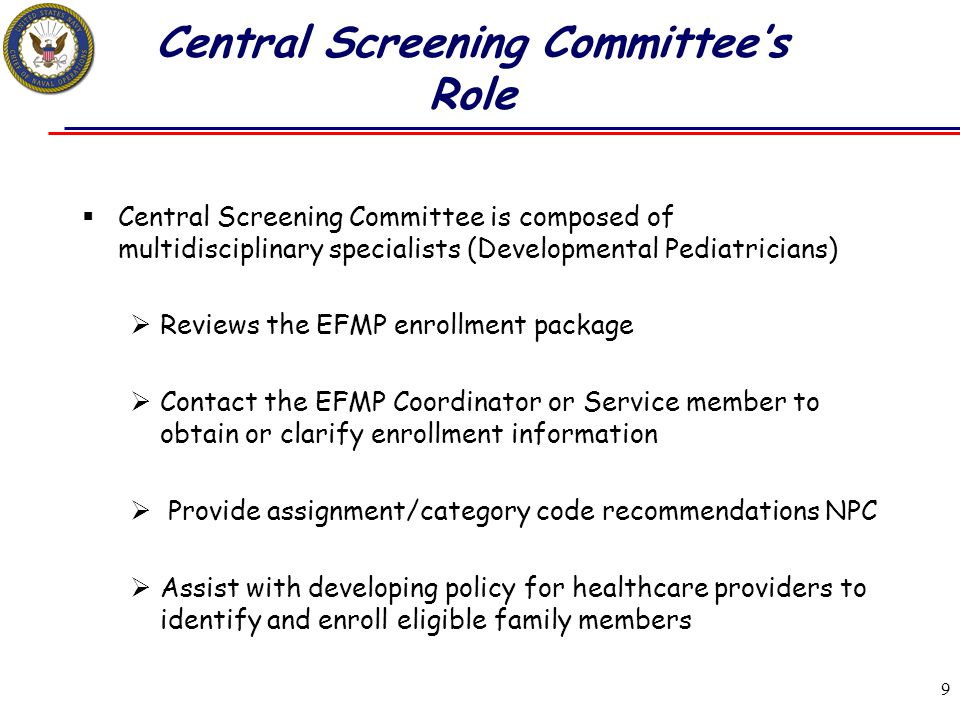 Central Screening Committee's Role