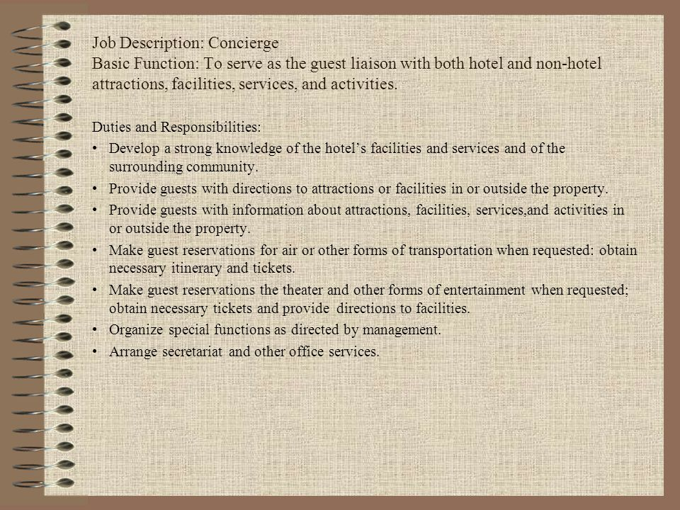 Amazing Concierge Job Description Gallery  Best Resume Examples