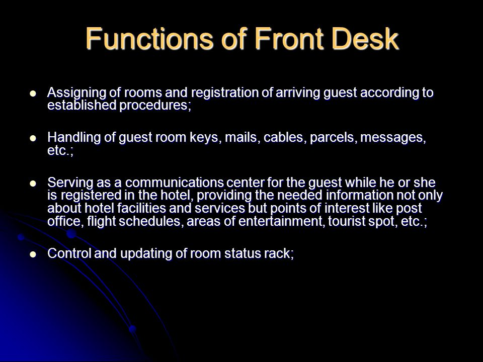 Functions of Front Desk