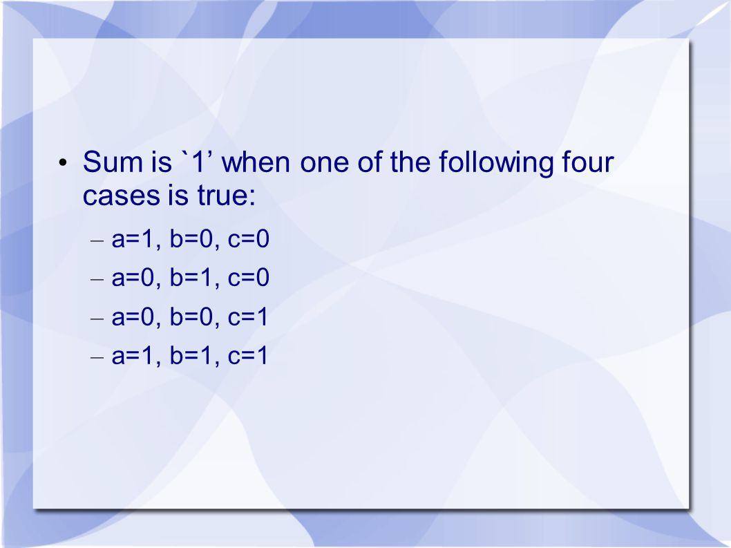 Sum is `1' when one of the following four cases is true: