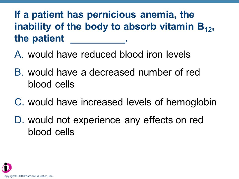would have reduced blood iron levels