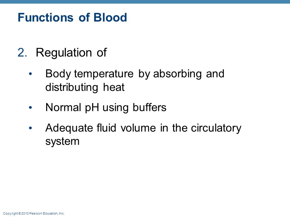 Functions of Blood Regulation of
