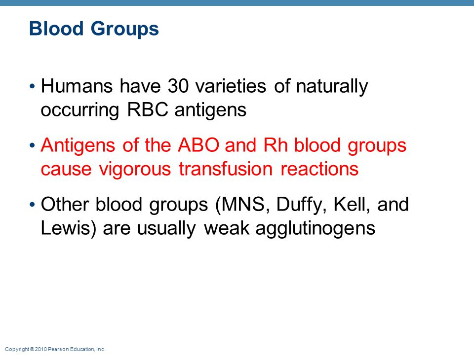 Blood Groups Humans have 30 varieties of naturally occurring RBC antigens.