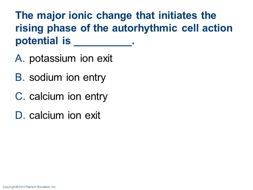 The major ionic change that initiates the rising phase of the autorhythmic cell action potential is __________.