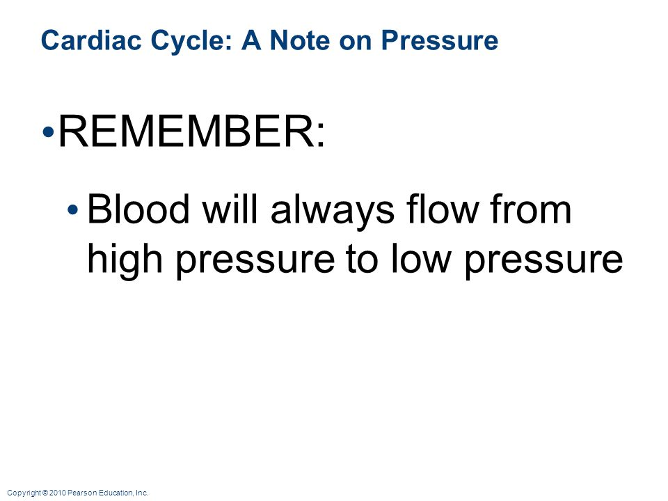 Cardiac Cycle: A Note on Pressure
