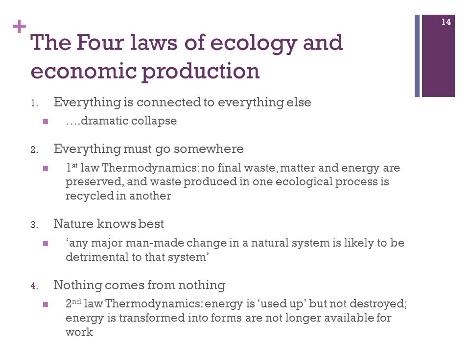 The Four laws of ecology and economic production