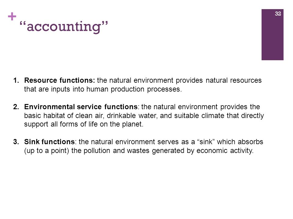 accounting Resource functions: the natural environment provides natural resources that are inputs into human production processes.
