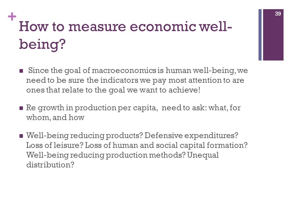 How to measure economic well-being