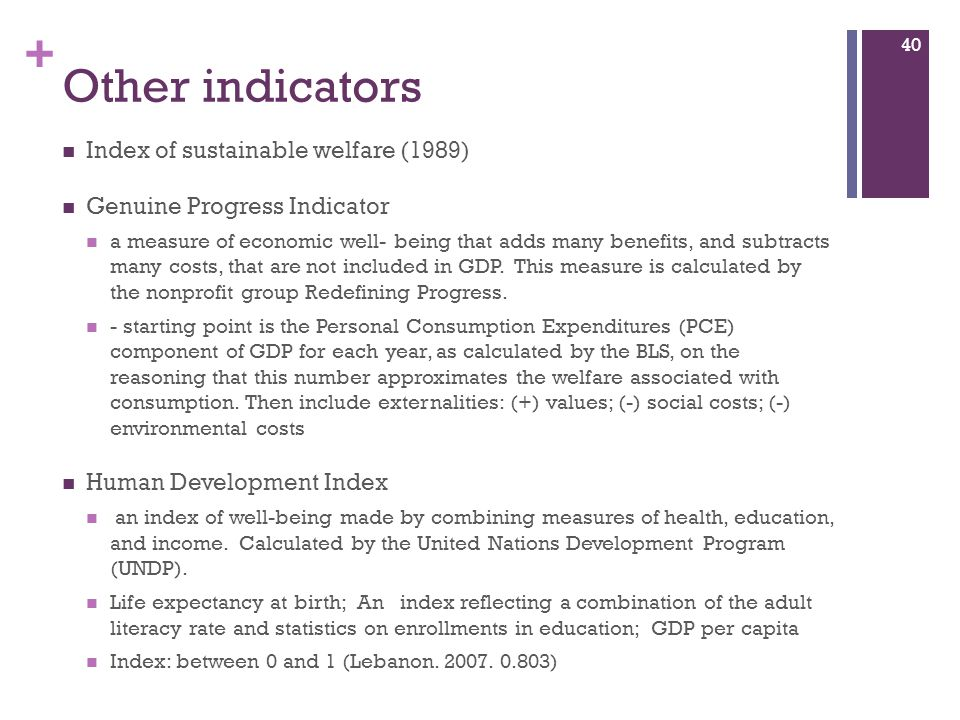 Other indicators Index of sustainable welfare (1989)