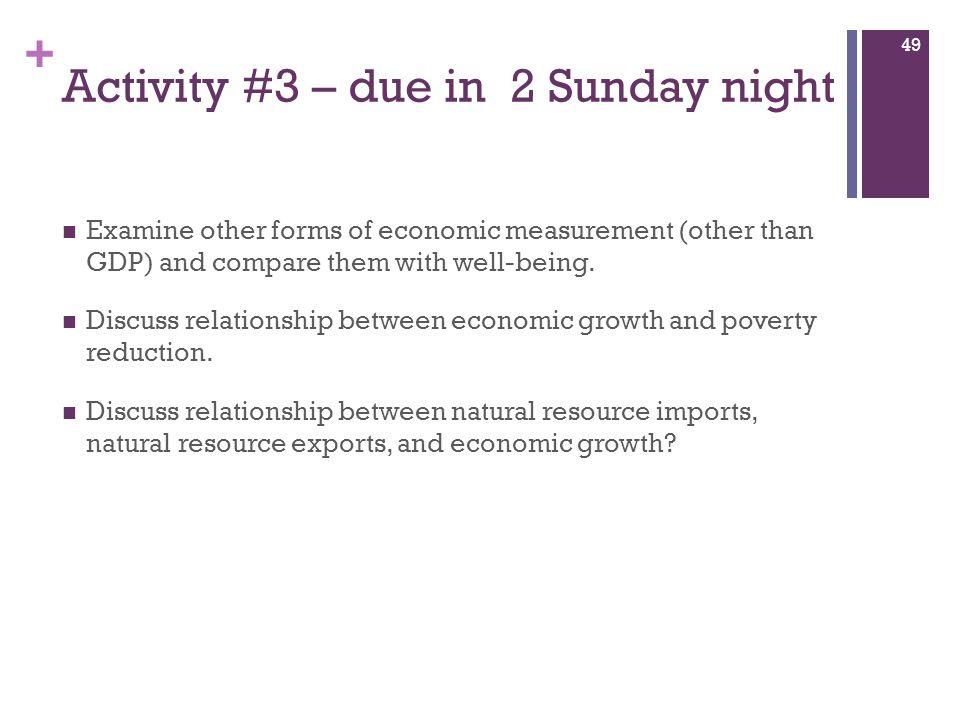 Activity #3 – due in 2 Sunday night