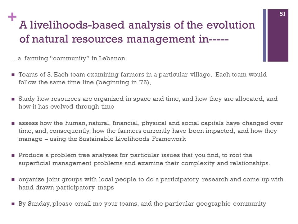 A livelihoods-based analysis of the evolution of natural resources management in-----