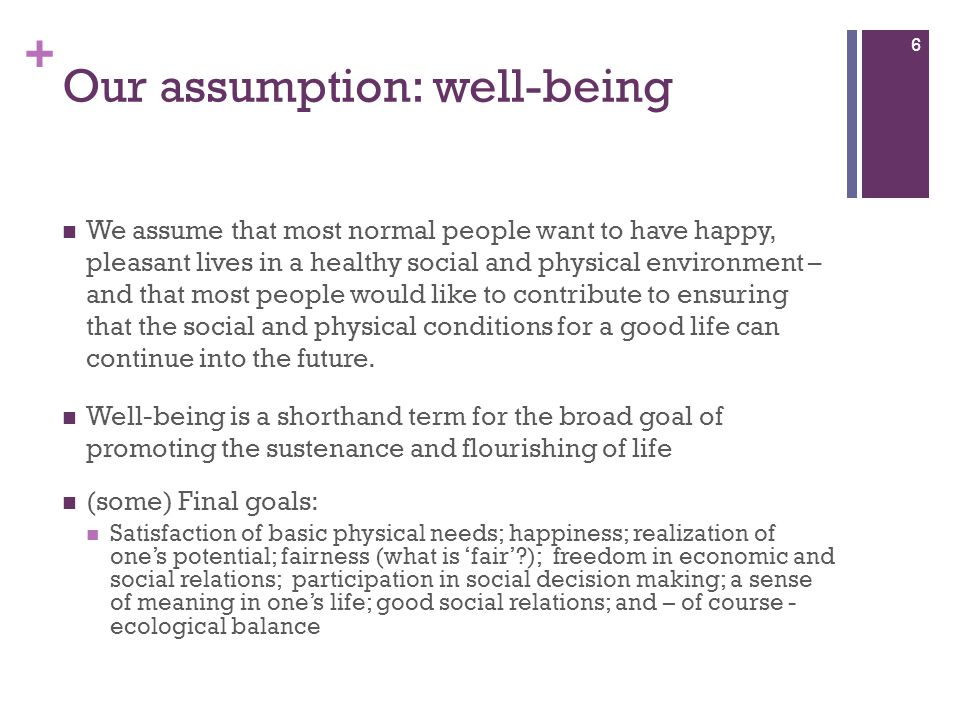 Our assumption: well-being