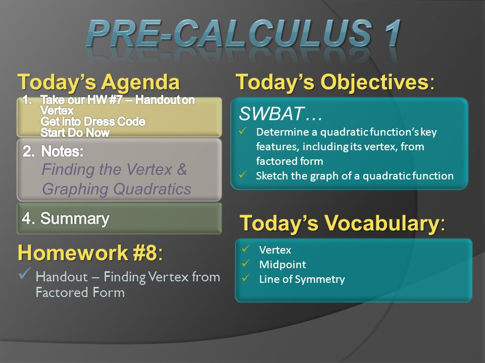 Pre-Calculus 1 Today's Agenda Today's Objectives: Today's Vocabulary: