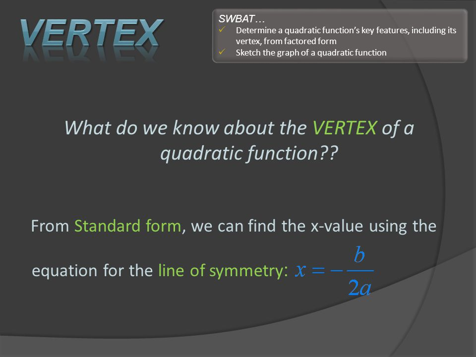 What do we know about the VERTEX of a quadratic function