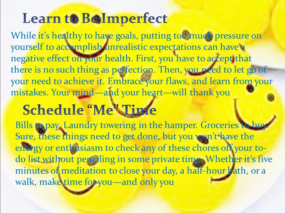 Learn to Be Imperfect Schedule Me Time