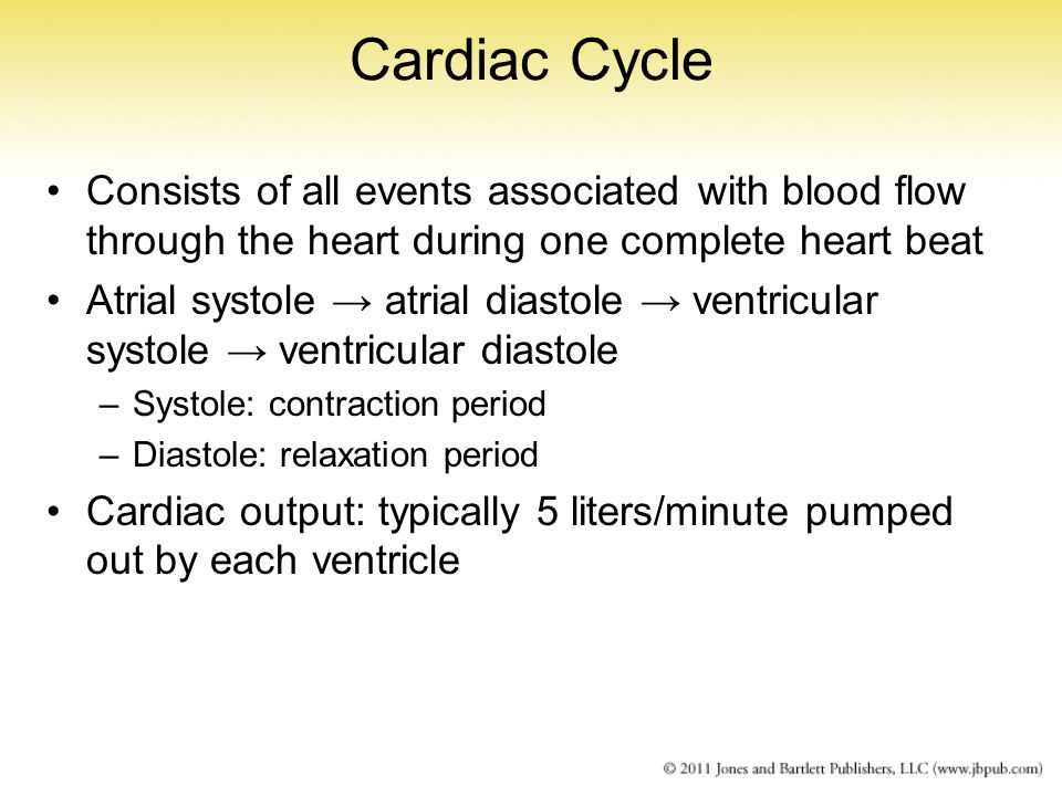 Cardiac Cycle Consists of all events associated with blood flow through the heart during one complete heart beat.