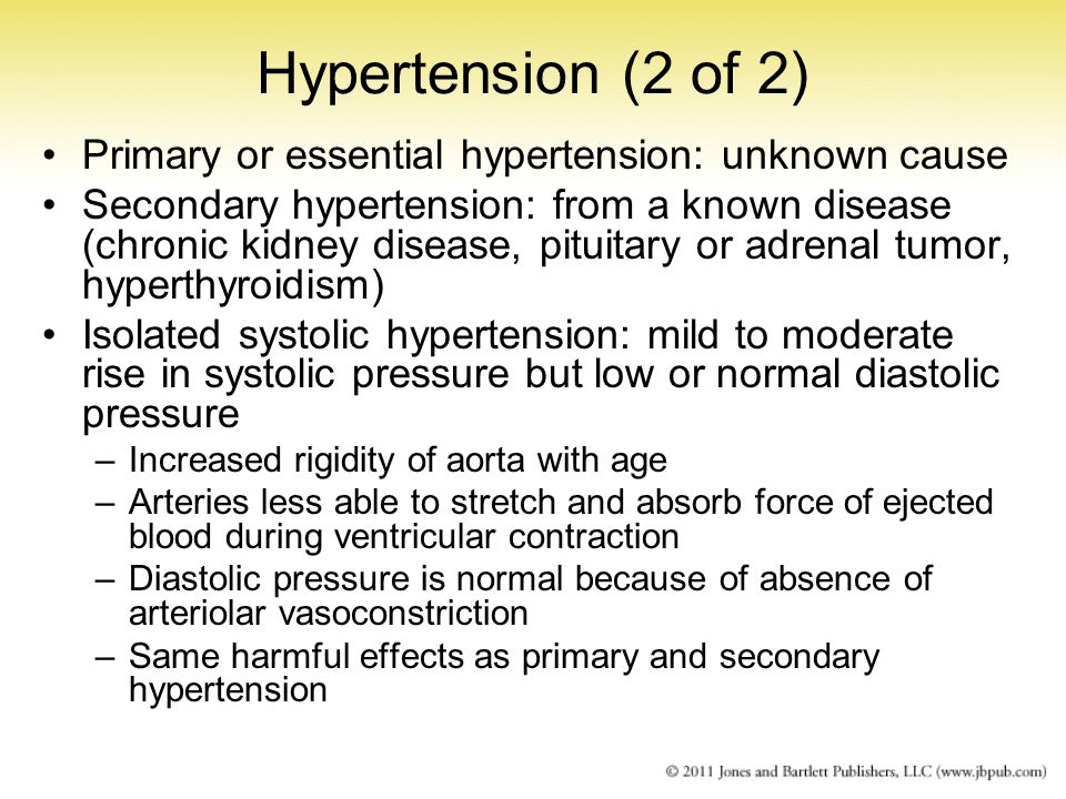 Hypertension (2 of 2) Primary or essential hypertension: unknown cause